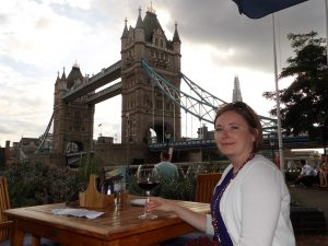 Tower Bridge with glass of wine