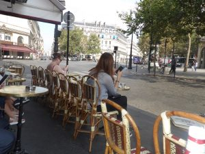 "typical lunch brasserie - seats all towards the street to ""see and be seen"""