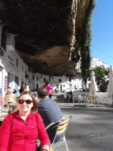 lunch under a cliff at a small Spanish town